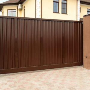 Откатные ворота Alutech серии ADS400 Econom без заполнения размер 3500х2100мм