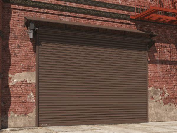 Рулонные стальные ворота DoorHan с навальным электроприводом из профиля RHS117, RHS117P